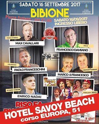 Una serata ad entrata libera, con Max Cavallari dei Fichi d'India e alcuni tra i migliori nomi del cabaret televisivo italiano? Imperdibile, soprattutto se è per una buona causa: supportare la donazione di sangue. Questa sera dalle 21, presso la sala teatro dell'Hotel Savoy Beach. Vieni a farti quattro risate con noi. #bibione #visitbibione #holiday #bibione2017 #summer #summer2017 #risofabuonsangue #Sommer2017 #AVIS @risofabuonsangue